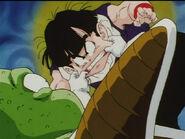 Guldo pinching Gohan's cheeks