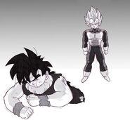 Dragon Ball Multiverse(Teen Gohan) Being Pushed By Vegeta(Super Saiyan)