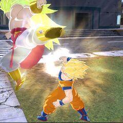 Легендарный Супер Сайян 3 Броли в бою с Супер Сайяном 2 Гоку (4) (<i>Raging Blast</i>)
