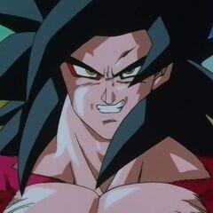 Супер Сайян 4 Гоку ожидает атаки Су Шинрона