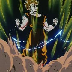 Гоку превращается в Супер Сайяна 2 перед боем с Маджином Веджетой
