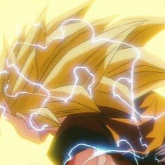 Волосы Супер Сайяна 2 Гоку растут во время трансформации в Супер Сайяна 3