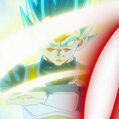 Супер Сайян Голубой Веджета отражает выстрелы Золотого Фризы