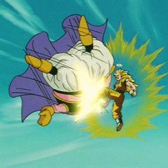Супер Сайян 3 Гоку догоняет тушку Маджина Буу запущенного его ударом и отпинывает следующим