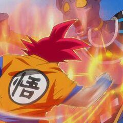 Супер Сайян Бог Гоку штурмует Бируса ударами
