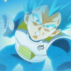 Супер Сайян Голубой Веджета атакует