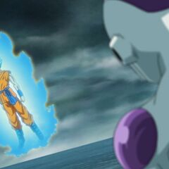 Супер Сайян Голубой Гоку перед Фризой (2)
