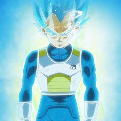 Супер Сайян Голубой Веджета перед Супер Сайяном Кабе (1)