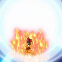 Камехамеха Супер Сайяна Бога Гоку летит навстречу энергетическим сферам Бируса