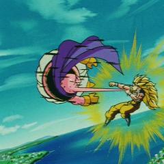 Супер Сайян 3 Гоку набивает Маджина Буу на кулаке держа его за его