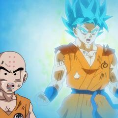 Гоку трансформируется в Супер Сайян Голубого чтобы успеть атаковать