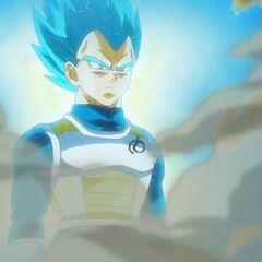 Супер Сайян Голубой Веджета над избитым Золотым Фризой