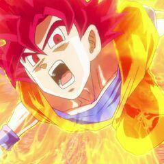 Супер Сайян Бог Гоку атакует