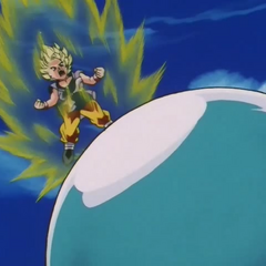 Супер Сайян 2 Гоку готовится отразить атаку Мега Риллда