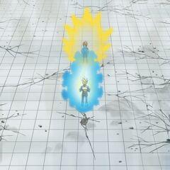 Взгляд Хита на Супер Сайяна Голубого Веджету с трибун (аниматоры ошибочно покрасили волосы Веджеты в золотой)