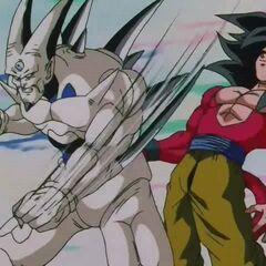 Йи Шинрон в бою с усиленным Супер Сайяном 4 Гоку