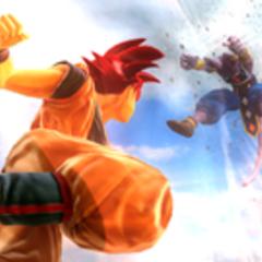 Супер Сайян Бог Гоку атакует Бируса в