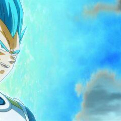 Супер Сайян Голубой Веджета демонстрирует трансформацию Фризе