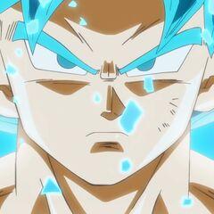 Супер Сайян Голубой Гоку сразу после трансформации