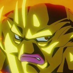 Су Шинрон заряжает Взрывную Атаку и вспоминает бой с Супер Сайяном 4 Гоку