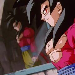 Супер Сайян 4 Гоку отражается в стекле