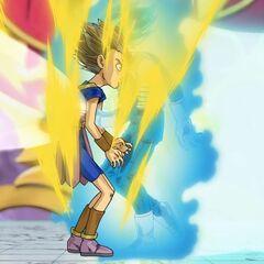 Супер Сайян Голубой Веджета лёгким рывком и ударом вырубает Супер Сайяна Кабе