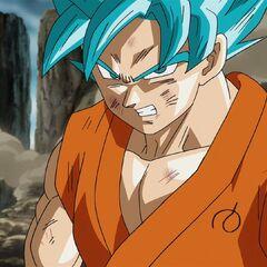 Супер Сайян Голубой Гоку без ауры, раненный