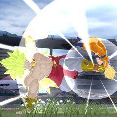 Легендарный Супер Сайян 3 Броли в бою с Супер Сайяном 2 Гоку (2) (<i>Raging Blast</i>)