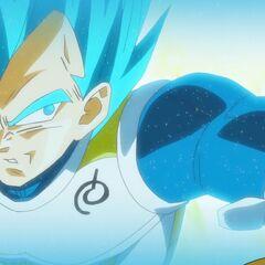 Супер Сайян Голубой Веджета в бою с Золотым Фризой (1)