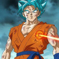 Супер Сайян Голубой Гоку получает ранение