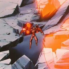 Су Шинрон атакует Гоку скорострельными пулями Ки