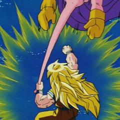 Супер Сайян 3 Гоку набивает Буу держа его за