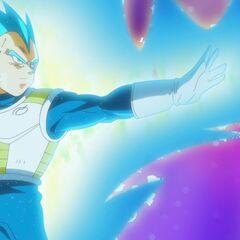 Супер Сайян Голубой Веджета собирается атаковать с расстояния