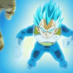 Супер Сайян Голубой Веджета в бою с Золотым Фризой (2)