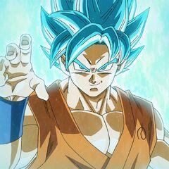 Супер Сайян Голубой Гоку в боевой стойке перед Золотым Фризой (1)