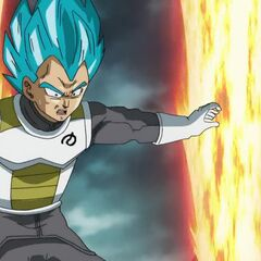Супер Сайян Голубой Веджета застан врасплох разрушением Земли руками Фризы