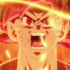 Супер Сайян Бог Гоку перед принятием на себя атаки Бируса (последнее появление)