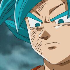 Супер Сайян Голубой Гоку смотрит на Золотого Фризу