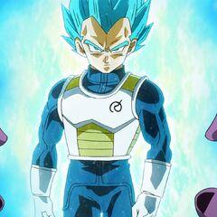 Супер Сайян Голубой Веджета проходит сквозь энергетический обстрел Фризы