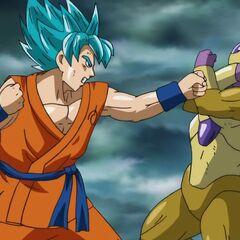 Супер Сайян Голубой Гоку атакует Золотого Фризу