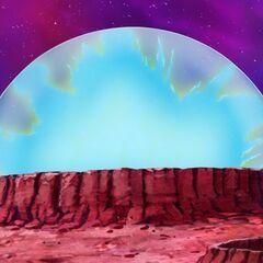 Аура Супер Сайяна Голубого Веджеты покрывает весь купол при трансформации перед Кабе, на турнире избранных Богами Разрушения