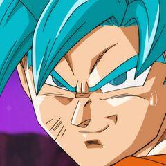 Супер Сайян Голубой Гоку планирует атаку на Хита