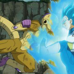 Супер Сайян Голубой Веджета останавливает атакующего Золотого Фризу одной ногой