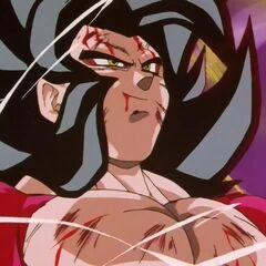Побитый Супер Сайян 4 Гоку собирает энергию товарищей
