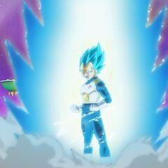 Веджета превращается в Супер Сайяна Голубого перед боем с Хитом