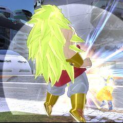 Легендарный Супер Сайян 3 Броли в бою с Супер Сайяном 2 Гоку (<i>Raging Blast</i>)