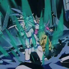 Йи Шинрон высвобождает взрывную волну чтобы отбросить Супер Сайяна 4 Гоку