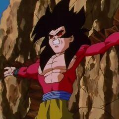 Супер Сайян 4 Гоку вбит в скалу