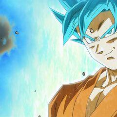 Супер Сайян Голубой Гоку демонстрирует Фризе своё превращение