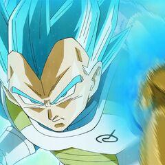 Супер Сайян Голубой Веджета с лёгкостью уклоняется от атаки Золотого Фризы